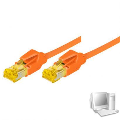 Tecline Patchkabel Cat. 6A (ISO/IEC), S/FTP, halogenfrei, mit Rastnasenschutz, orange, 0,5 m 10-Gigabit-fähiges Premiumpatchkabel mit Draka Cat. 7 Rohkabel