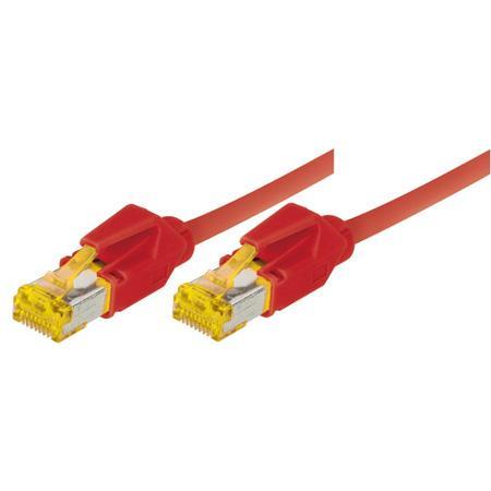 Tecline Patchkabel Cat. 6A (ISO/IEC), S/FTP, halogenfrei, mit Rastnasenschutz, rot, 2,0 m 10-Gigabit-fähiges Premiumpatchkabel mit Draka Cat. 7 Rohkabel