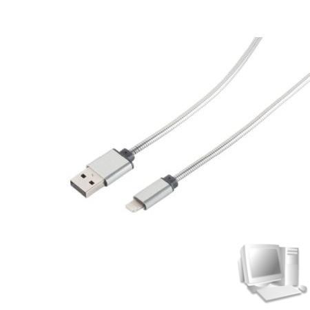 Lightning Lade-Sync USB A 2.0/ 8-pin Steel (Metallumantelung) Silber 1m