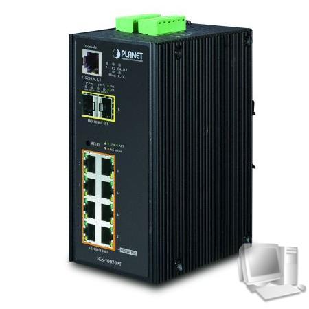 Planet Industrial Gigabit Switch IGS-10020PT, 8 Port PoE, 2 Port SFP Der Switch Planet IGS-Industrie 10020PT ist speziell um Kameras und externe WiFi-Hotspots zu implementieren
